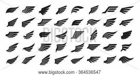 Set Of Black Wings Icons. Wings Badges. Collection Wings Badges. Vector Illustration.