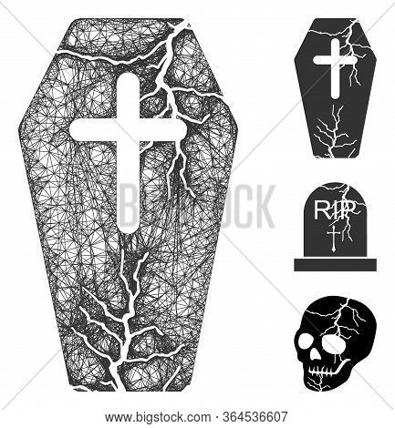 Mesh Old Coffin Polygonal Web Icon Vector Illustration. Model Is Based On Old Coffin Flat Icon. Tria