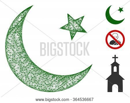 Mesh Muslim Moon Polygonal Web 2d Vector Illustration. Model Is Based On Muslim Moon Flat Icon. Tria