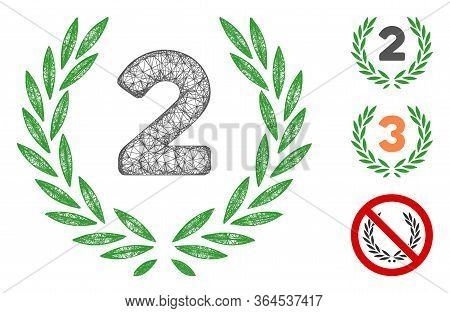 Mesh Second Laurel Wreath Polygonal Web Icon Vector Illustration. Abstraction Is Based On Second Lau
