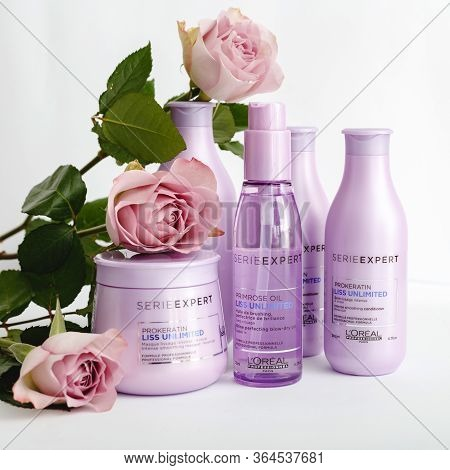 Hair Cosmetics, Hair Shampoo, Beauty Products For Beauty Salon With Flower On White Background. Lore
