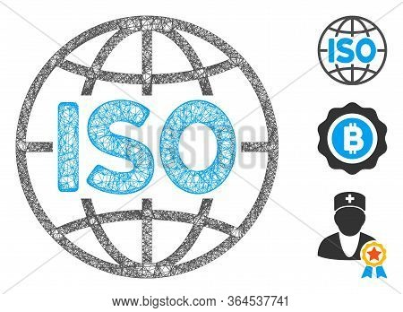 Mesh Iso Standards Polygonal Web Symbol Vector Illustration. Carcass Model Is Based On Iso Standards