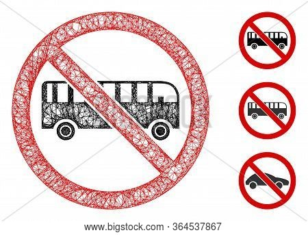 Mesh No Bus Polygonal Web Icon Vector Illustration. Model Is Based On No Bus Flat Icon. Triangle Net