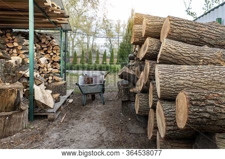 Chopped Firewood Storage Under Shed And Oak Wooden Tree Logs Prepared For Chopping And Cutting At Ho