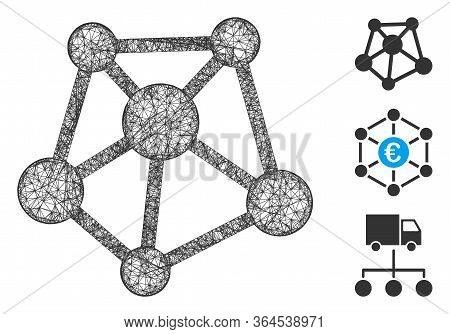 Mesh Network Links Polygonal Web Icon Vector Illustration. Carcass Model Is Based On Network Links F