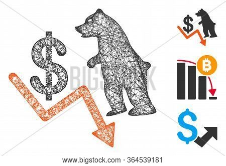 Mesh Bear Dollar Trend Polygonal Web Icon Vector Illustration. Carcass Model Is Based On Bear Dollar