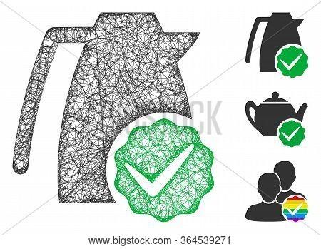 Mesh Valid Kettle Polygonal Web Symbol Vector Illustration. Carcass Model Is Based On Valid Kettle F