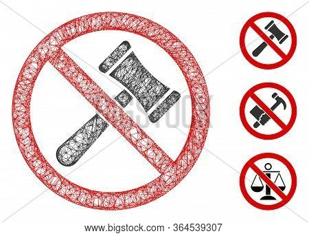 Mesh No Bids Polygonal Web Icon Vector Illustration. Model Is Created From No Bids Flat Icon. Triang