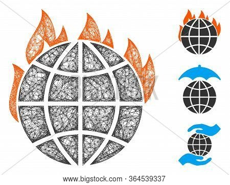 Mesh Global Warming Fire Polygonal Web Icon Vector Illustration. Carcass Model Is Based On Global Wa