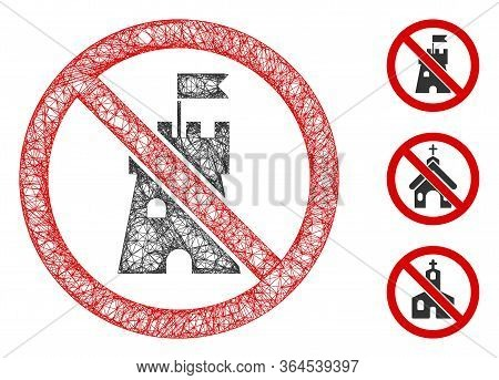 Mesh No Bastion Polygonal Web Icon Vector Illustration. Abstraction Is Based On No Bastion Flat Icon