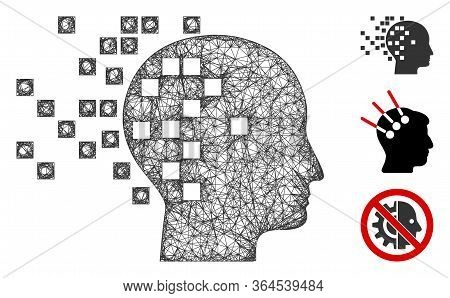 Mesh Digital Mind Polygonal Web 2d Vector Illustration. Model Is Based On Digital Mind Flat Icon. Tr