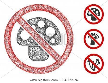 Mesh No Mushroom Polygonal Web Icon Vector Illustration. Carcass Model Is Based On No Mushroom Flat