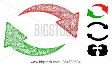 Mesh Exchange Polygonal Web Symbol Vector Illustration. Carcass Model Is Based On Exchange Flat Icon