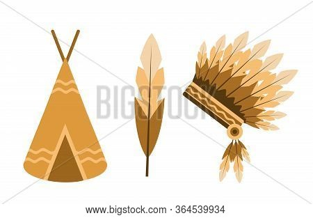 Vector Illustration. Indian Set: Feather, Wigwam, Crown Of Feathers