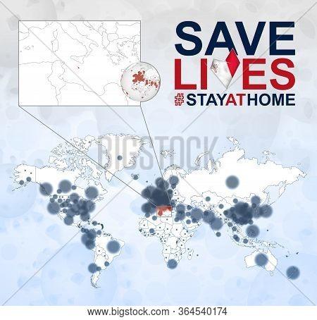 World Map With Cases Of Coronavirus Focus On Malta, Covid-19 Disease In Malta. Slogan Save Lives Wit