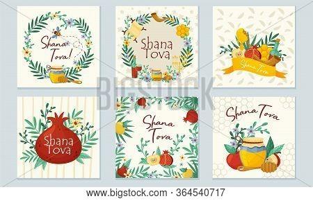 Rosh Hashana Jewish Holiday Greeting Cards With Attributes And Symbolic Food Vector Set