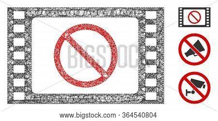 Mesh Forbidden Movie Polygonal Web Icon Vector Illustration. Model Is Based On Forbidden Movie Flat