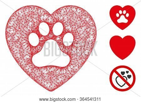 Mesh Dog Love Heart Polygonal Web Icon Vector Illustration. Model Is Based On Dog Love Heart Flat Ic