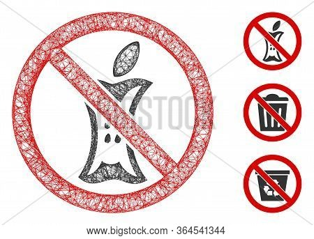 Mesh Do Not Litter Polygonal Web Symbol Vector Illustration. Model Is Based On Do Not Litter Flat Ic