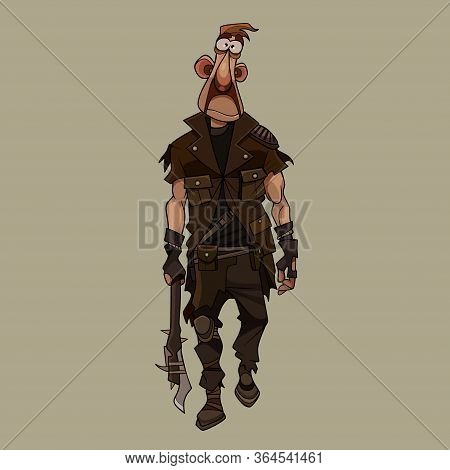 Sad Cartoon Man In Post Apocalypse Clothes Strides With Makeshift Weapon In Hand