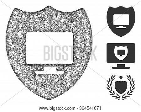 Mesh Computer Insurance Polygonal Web Symbol Vector Illustration. Carcass Model Is Based On Computer