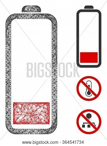 Mesh Low Battery Level Polygonal Web Icon Vector Illustration. Model Is Based On Low Battery Level F