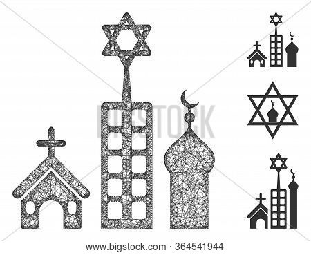 Mesh Zion City Polygonal Web Icon Vector Illustration. Model Is Based On Zion City Flat Icon. Triang