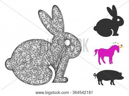 Mesh Rabbit Polygonal Web Icon Vector Illustration. Abstraction Is Based On Rabbit Flat Icon. Triang