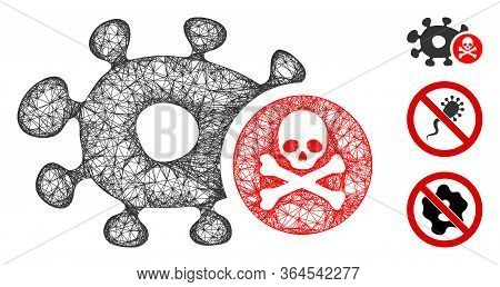 Mesh Microbe Antibiotic Polygonal Web Symbol Vector Illustration. Carcass Model Is Based On Microbe