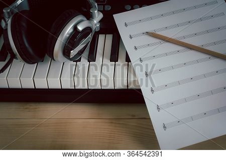 Music Instruments Concept Background. Close Up Group Of Musical Tools For Musician Create Song With