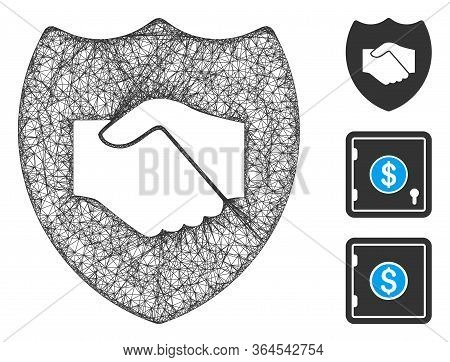 Mesh Trust Polygonal Web Icon Vector Illustration. Carcass Model Is Based On Trust Flat Icon. Triang