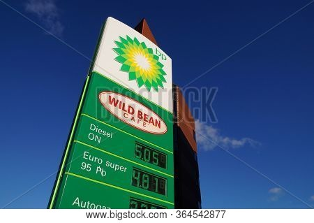 Poland. Bp Gas Station. Advertising Pylon With Fuel Prices. February 2020.