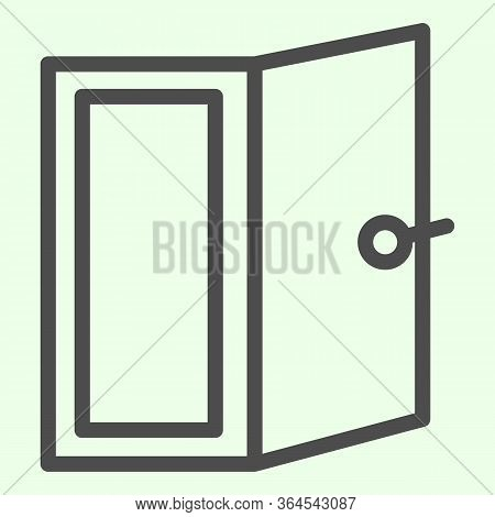 Door Line Icon. Open Home Doorway Exit Or Entrance Outline Style Pictogram On White Background. Apar