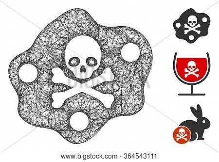 Mesh Botulinum Toxin Polygonal Web 2d Vector Illustration. Carcass Model Is Based On Botulinum Toxin