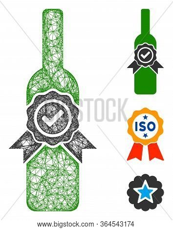 Mesh Finest Wine Polygonal Web 2d Vector Illustration. Carcass Model Is Based On Finest Wine Flat Ic