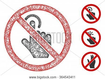 Mesh No Click Polygonal Web Icon Vector Illustration. Model Is Created From No Click Flat Icon. Tria