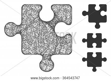 Mesh Puzzle Detail Polygonal Web Icon Vector Illustration. Model Is Based On Puzzle Detail Flat Icon