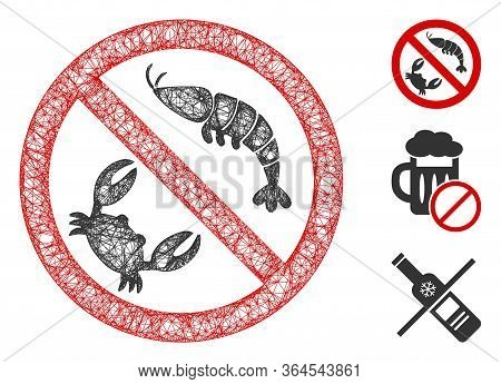 Mesh No Seafood Polygonal Web Icon Vector Illustration. Model Is Based On No Seafood Flat Icon. Tria