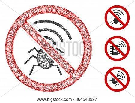 Mesh No Radio Bugs Polygonal Web Icon Vector Illustration. Carcass Model Is Based On No Radio Bugs F