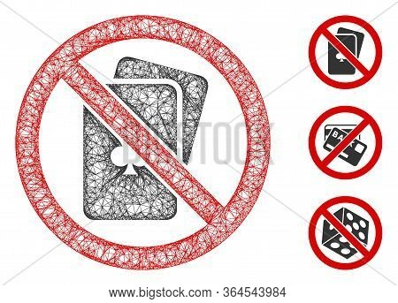 Mesh No Playing Cards Polygonal Web Symbol Vector Illustration. Carcass Model Is Based On No Playing