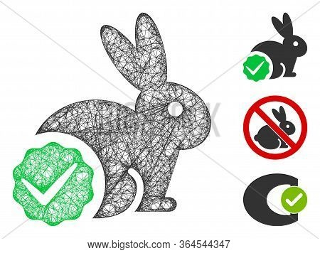 Mesh For Rabbits Only Polygonal Web Icon Vector Illustration. Model Is Based On For Rabbits Only Fla