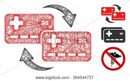 Mesh Medical Cards Transfer Polygonal Web 2d Vector Illustration. Carcass Model Is Based On Medical