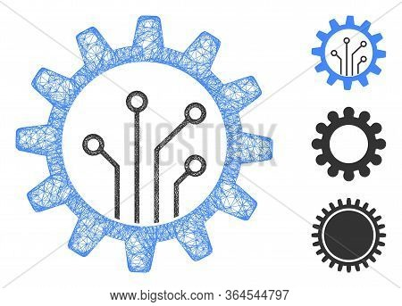 Mesh Gear Chip Polygonal Web Symbol Vector Illustration. Model Is Based On Gear Chip Flat Icon. Tria