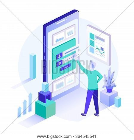 A Man Stands In Front Of Inputted Secured Data. Registration Form Or Login User Interface. Isometric