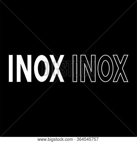 Inox Inscription Symbol Type Cooking Surfaces Sign Utensil Destination Panel Icon Outline Set White
