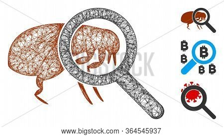 Mesh Total Flea Control Polygonal Web 2d Vector Illustration. Carcass Model Is Based On Total Flea C