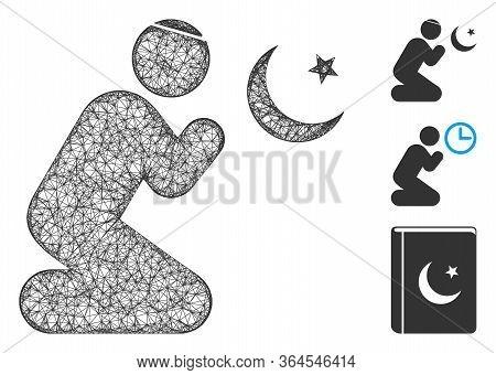 Mesh Praying Muslim Polygonal Web Icon Vector Illustration. Model Is Based On Praying Muslim Flat Ic