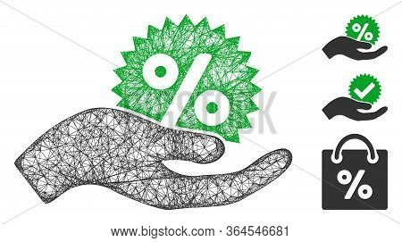 Mesh Give Percent Bonus Polygonal Web Icon Vector Illustration. Carcass Model Is Created From Give P