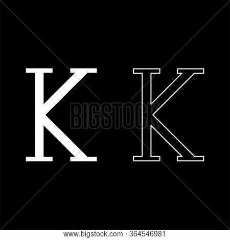 Kappa Greek Symbol Capital Letter Uppercase Font Icon Outline Set White Color Vector Illustration Fl