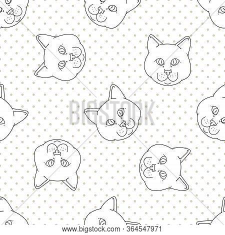 Cute Cartoon Monochrome British Shorthair Cat Face Seamless Vector Pattern. Pedigree Lineart Kitty B